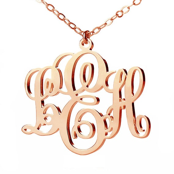 Rose gold monogram inch monogram by for Rose gold personalized jewelry