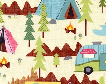 Camping Fabric, Campers, Under the Stars by Timeless Treasures, Camping Scenic in Cream , Cotton Fabric,1/2  Yard