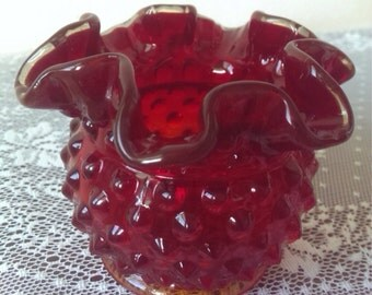 Small Cranberry Fenton Hobnail