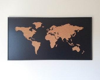 Cork Board World Map - Black