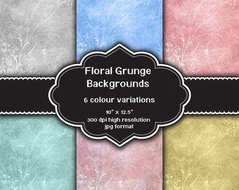 INSTANT DOWNLOAD - Collection of digital floral grunge design backgrounds with 6 different colour variations