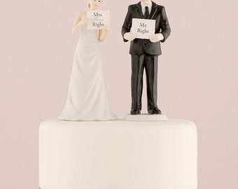 Hand Painted Porcelain Read My Sign Bride Wedding Cake Topper