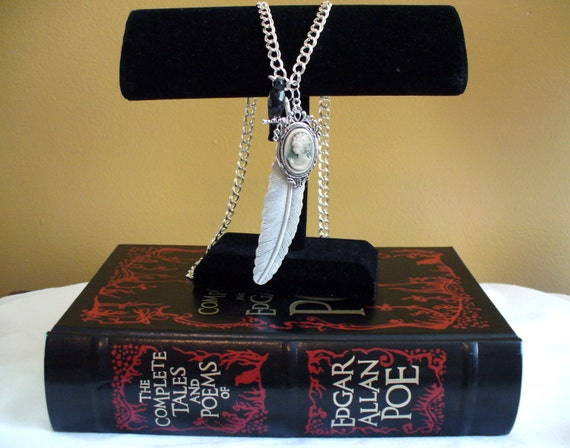 Raven, Quill, and Cameo Poe Inspired Necklace, Book Nook Necklace, Edgar Allen Poe, Raven Necklace, Nevermore, Marjorie Mae, Cameo Necklace
