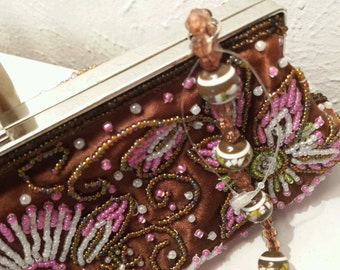 Lovely Vintage Small Beaded Handbag Brown 033