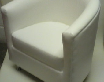 Tub Chair Upholstered In  White Faux Leather With Metal Legs