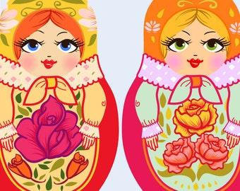 Matryoshka (Russian dolls) clipart, Doll drawings, Dolls clipart, Pretty vintage clipart, Girly clipart, Vintage Dolls clipart