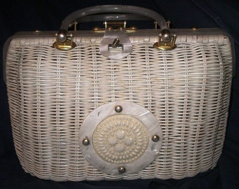 VTG Wicker Purse with Lucite Trim from Hong Kong