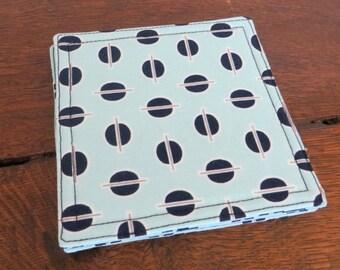 Fabric coasters, set of four, retro design on 100% cotton