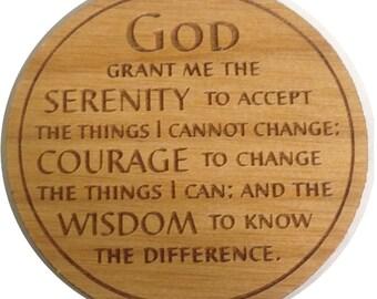The Serenity Prayer Chip Laser Engraved Alder Wood