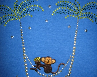 Tropical MONKEY in Hammock, Palm Trees Ladies Rhinestone Shirt- Choice of Green Medium or Blue Large