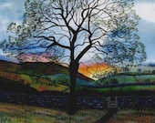 """Greetings card: """"Spring evening in Dentdale"""" -  spring card, tree card, landscape, sunset, stile, path, hills, from a painting by Liz Clarke"""