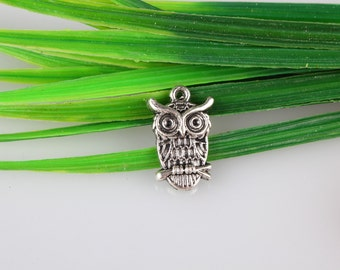 Wholesale~Antique Silver  Night Owl Connector,Small Cute Owl on Branch ,for Bracelet & Necklace pendant ,DIY Accessory 14x22 mm B326