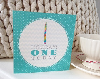 Age 1 Birthday Card. Ideal for boys or girls