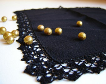 Pretty Embroidery Handmade Bulgarian black Napkin,  Handmade Napkin with crochet edges for Lunch or Tea. Free shipping!