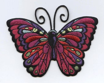 Butterfly - Large - Jewel Tones - Iron on Applique - Embroidered Patch -  696250A