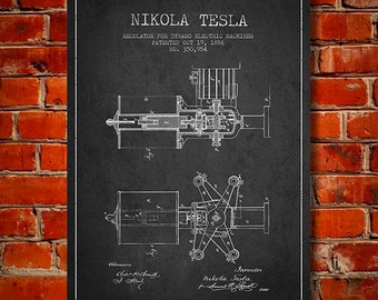 1886 Nikola Tesla Regulator for dynamo Electric Machines Patent Canvas Print, Wall Art, Home Decor, Gift Idea