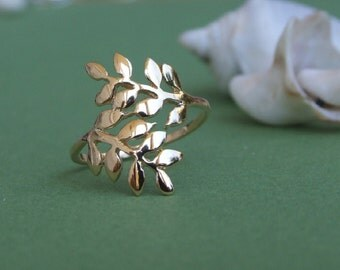 Two Wrap Leaves Ring, 14K Yellow Gold Plated Ring