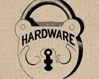 INSTANT DOWNLOAD Printable Lock Image Antique Lock Illustration Lock Printable Antique Hardware Clipart Digital Sheet 300dpi HQ