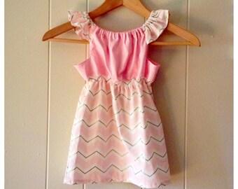 girls chevron dress- flutter sleeve dress- girls peasant dress- blush pink dress- toddler spring dresses- baby girl dress- summer dress