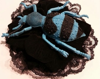 Blue giant  bug fascinator with lace