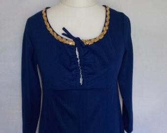 Vintage maxi dress 60s Navy dress evening gown size medium large Uk 12 14