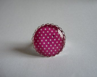 Adjustable ring cabochon 25mm spot