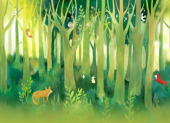 Kinderzimmer Tapeten Wald : Forest Animal Wall Murals