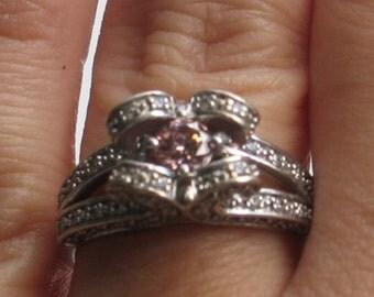 ON SALE Pink diamond white gold ring