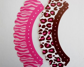 Pink & Brown Leopard Cupcake Treat Wraps