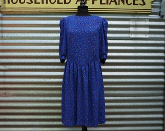 Women's 1980's VTG Blue 3/4 Sleeve Dress Colorful Cube Print Size Medium