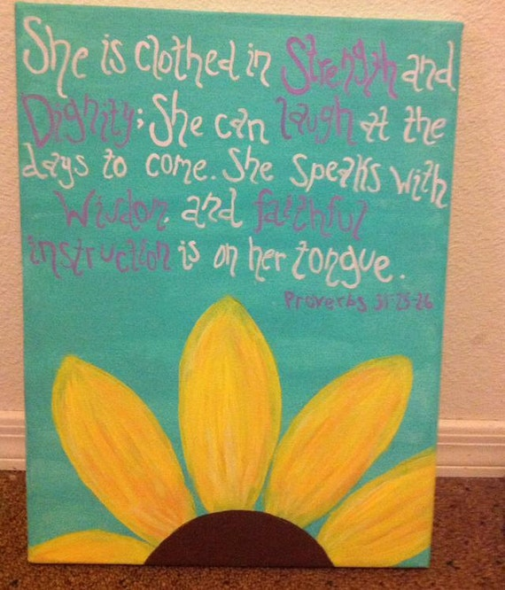 Stength And Dignity: She Is Clothed In Strength And Dignity... Canvas Art