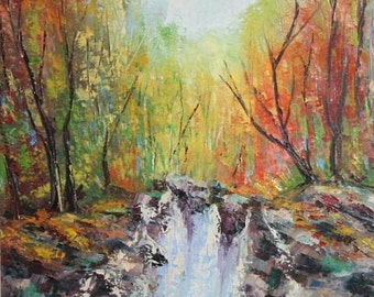 1970's European art waterfall landscape oil painting signed