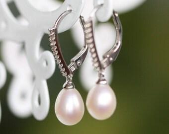 Vintage Inspired Diamond and Pearl Drop Earrings in 14k White Gold Diamond Hoop Earrings, June Birthstone Earrings Dangling Gemstone Earring