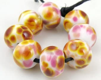 Strawberry Caramel SRA Lampwork Handmade Artisan Glass Donut/Round Beads Made to Order Set of 8 8x12mm