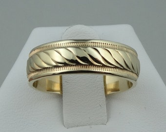 Classic Solid 14k Yellow Gold Men's Band  #14RPBND-MR