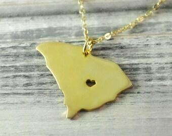 I  heart  South Carolina Necklace  South Carolina  pendant 18K gold plated state necklace state pendant map pendant hammered state necklace