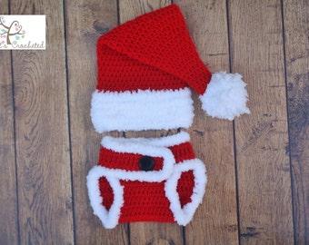 Newborn Santa hat and diaper cover - Newborn photography prop, newborn boy, newborn girl, crochet newborn hat and diaper cover