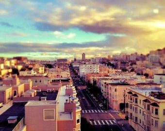 San Francisco Photography Print, California Wall Art,  San Francisco Art, Pastel Decor, Rooftop Photo, Wall Decor, 8 x 10 Art, 11 x 14 Print