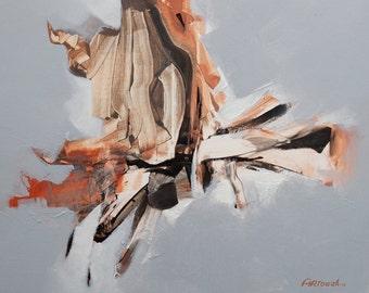Abstract Painting Orange, Brown, Grey, Black Modern Painting Original Painting