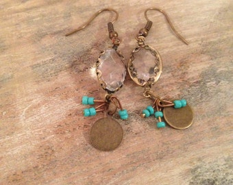 SOLD OUT - Dangle Brass Earrings #1 with Turquoise Beading