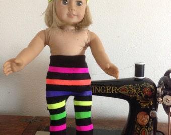 Neon rainbow stripe tights - fit American Girl Dolls