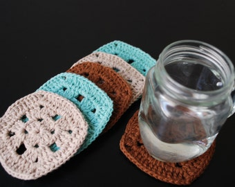 Crochet Coasters in Turquoise, Brown and Beige- Set of 6