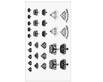Fashion Mini crown tattoo stickers cute tattoo design diamond temporary tattoo little skin art fake tattoos
