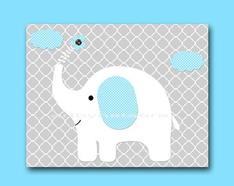 Elephant Nursery Digital Art Printable Print Baby Boy Nursery Art Children Art Kids Wall Art Digital Download 8x10 11X14 INSTANT DOWNLOAD