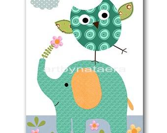 Elephant Nursery Print Kids Art Baby Nursery Printable Digital Baby Art Print Digital Download Print 8x10 11X14 INSTANT DOWNLOAD Print Owl