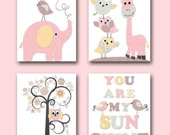 Kids Room Decor INSTANT DOWNLOAD Baby Nursery Decor Digital Print Printable Wall Art Baby Girl Nursery Digital Download set of 4 8x10 11X14