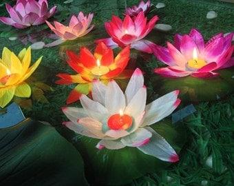 10 pcs water garden decorative lantern, outside birthday party water garden floating lantern /silk like water lily candle lantern