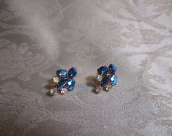 Vintage Deep Blue AB Rhinestone Earrings, White Rhinstone accents, Unmarked, Screwback  Earrings
