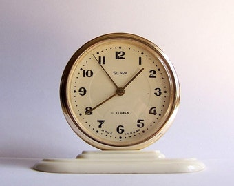 Vintage Soviet Mechanical Desk Clock Slava Alarm Clock USSR the 1960s