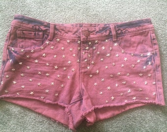 pink cutoff short with silver stars/studs//size m//handmade